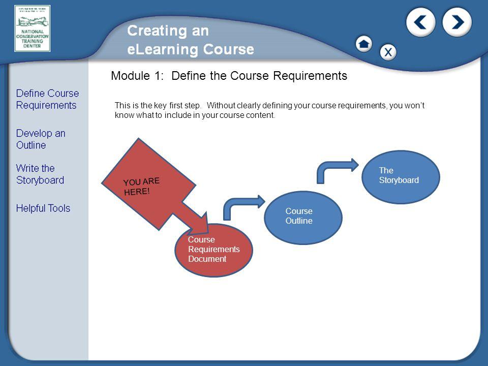 Module 1: Define the Course Requirements