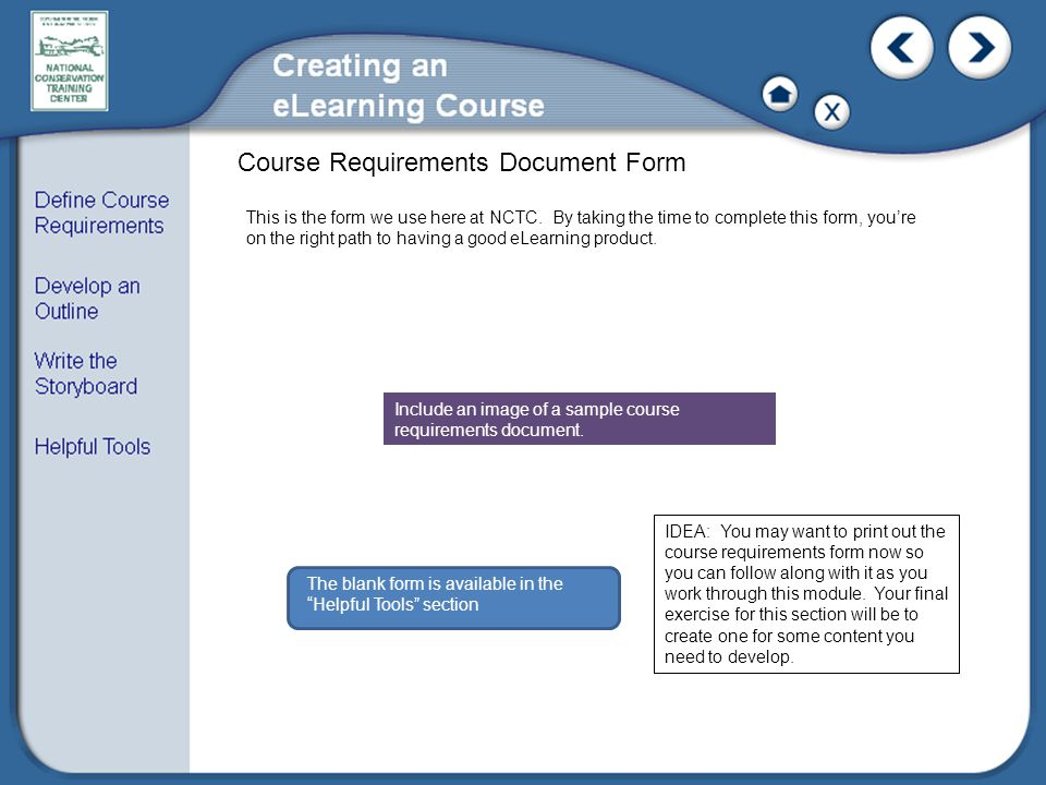 Course Requirements Document Form