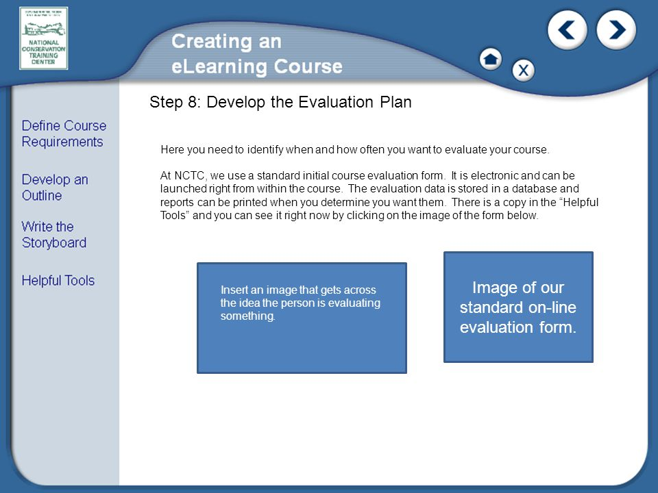 Step 8: Develop the Evaluation Plan