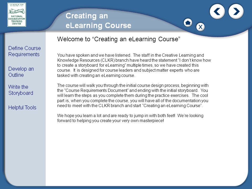 Welcome to Creating an eLearning Course