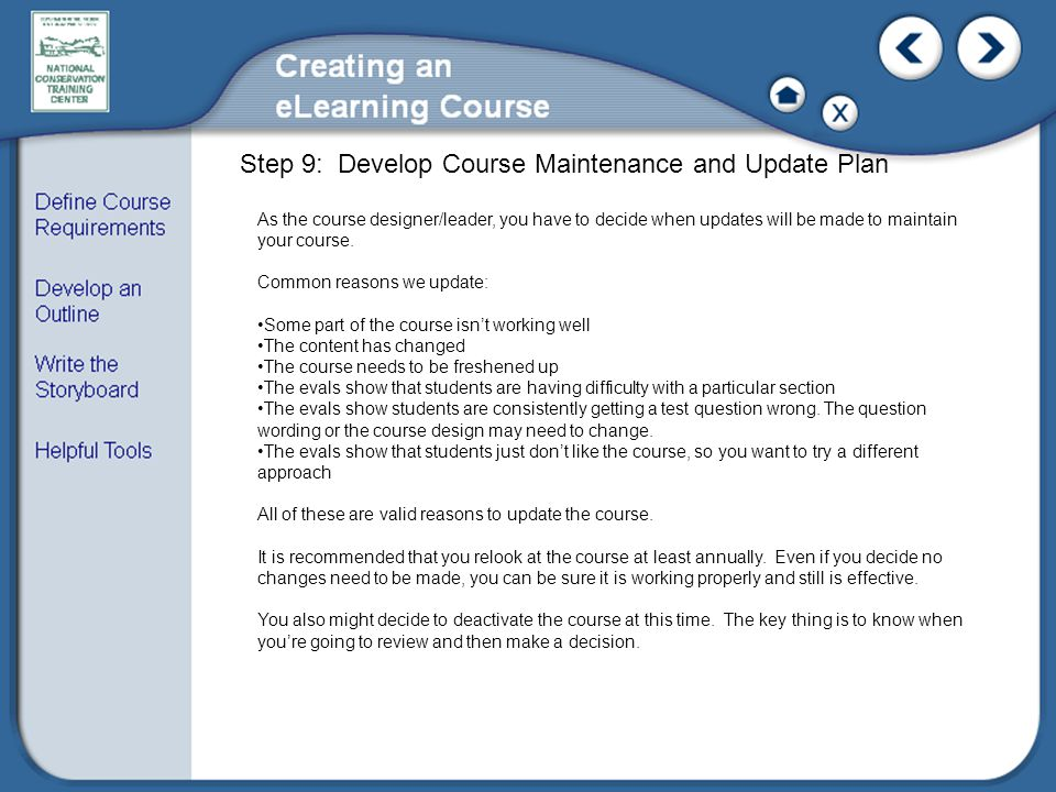 Step 9: Develop Course Maintenance and Update Plan