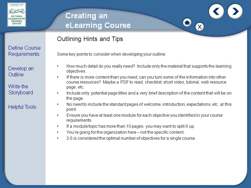 Outlining Hints and Tips