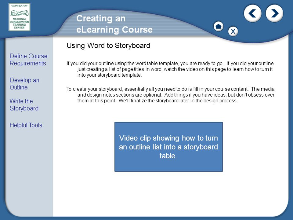 Using Word to Storyboard