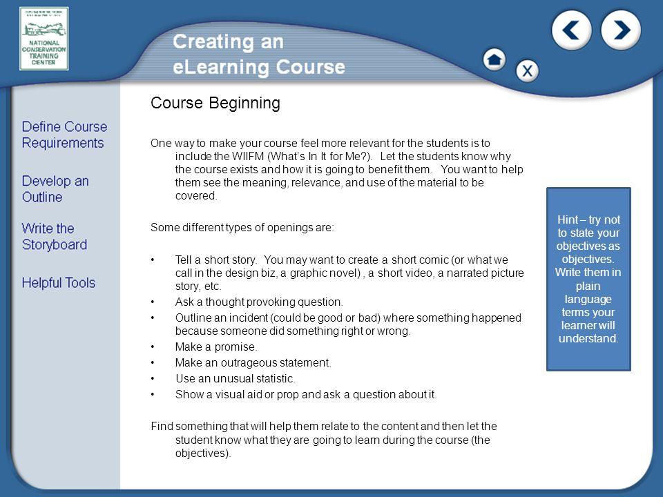 Course Beginning