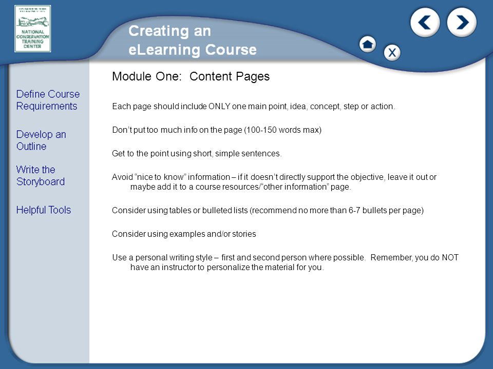 Module One: Content Pages