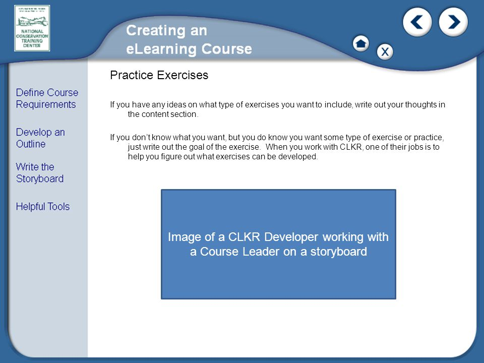 Image of a CLKR Developer working with a Course Leader on a storyboard