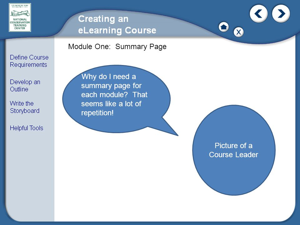 Module One: Summary Page