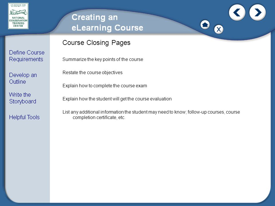 Course Closing Pages
