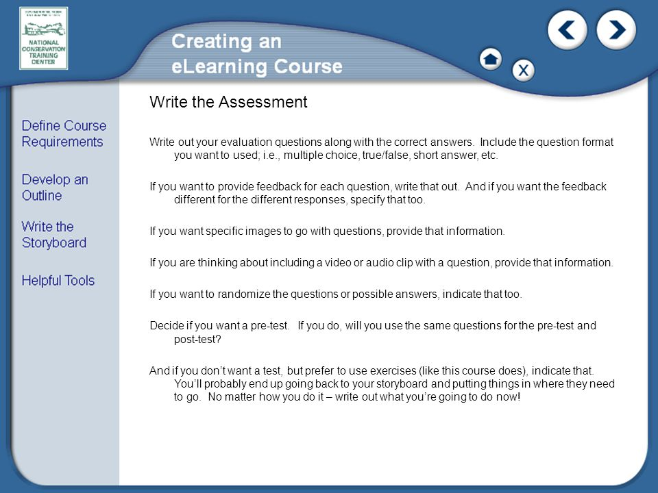Write the Assessment