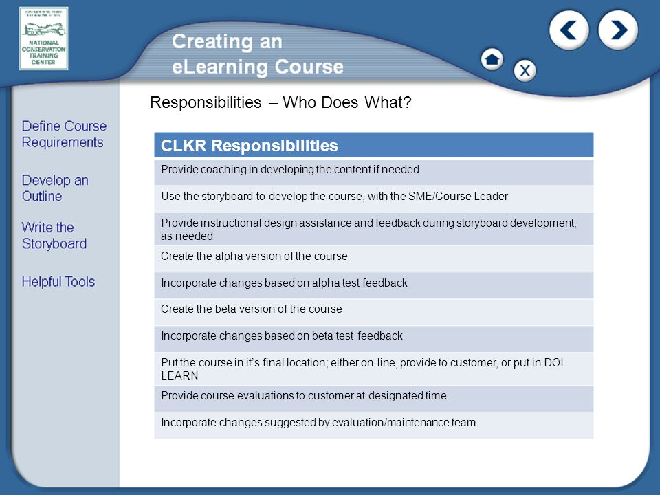 Responsibilities – Who Does What