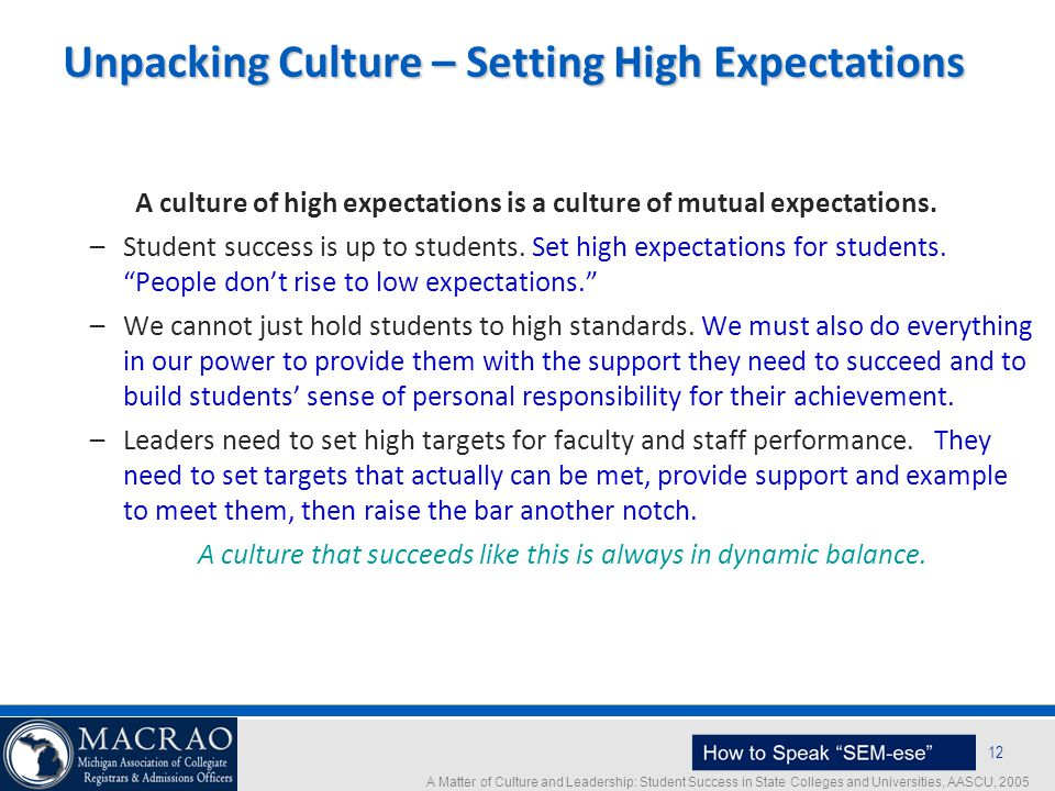 Unpacking Culture – Setting High Expectations