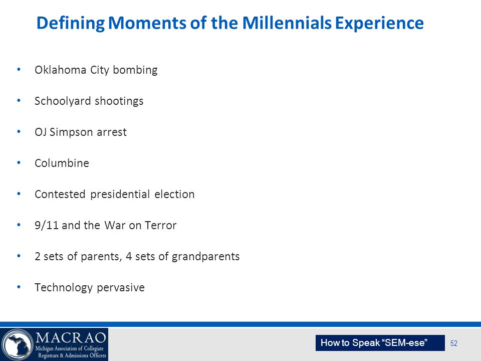 Defining Moments of the Millennials Experience