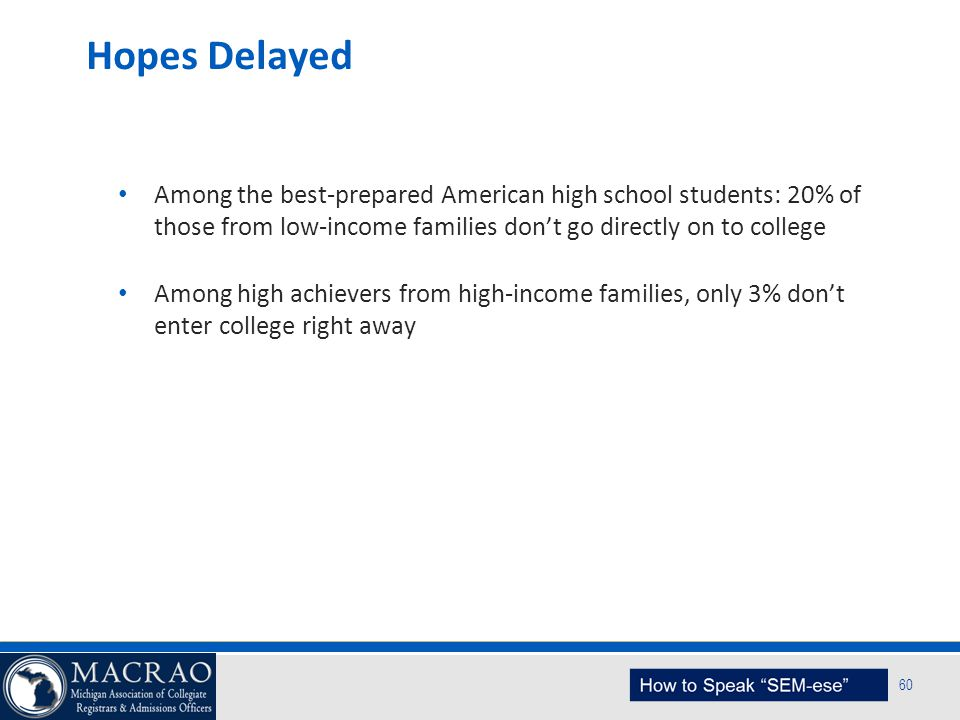 Hopes Delayed Among the best-prepared American high school students: 20% of those from low-income families don't go directly on to college.