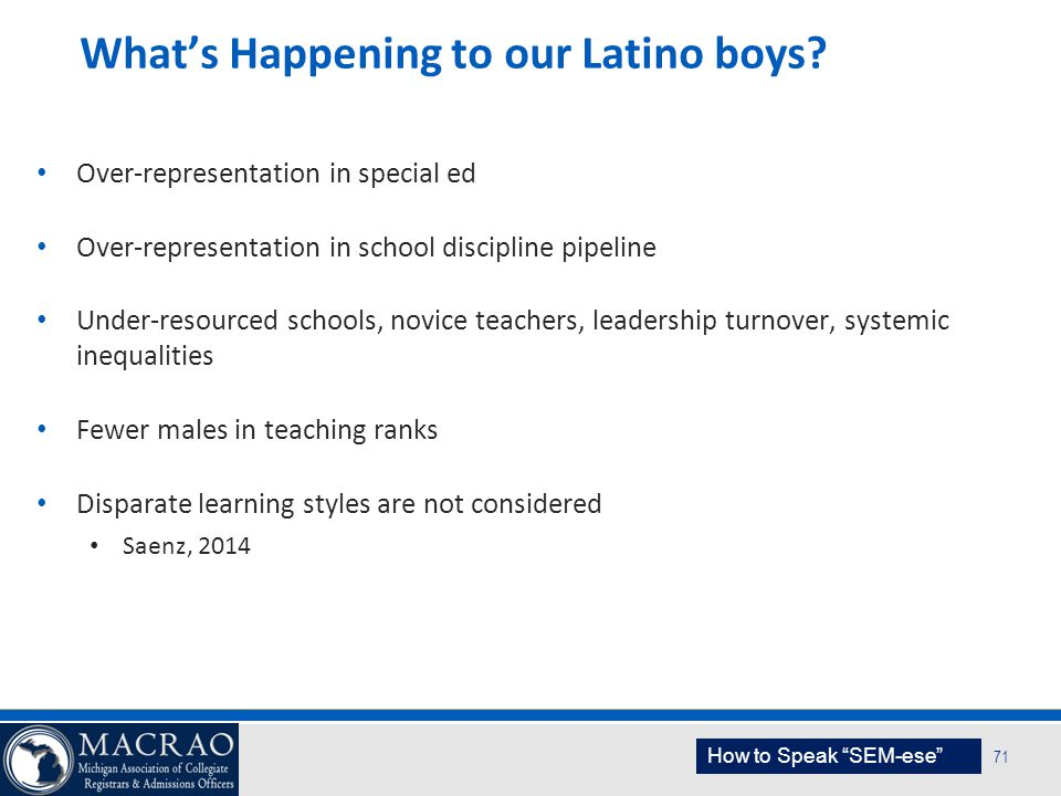 What's Happening to our Latino boys