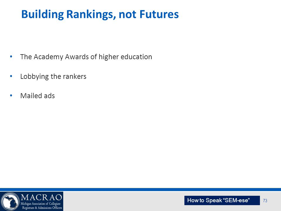 Building Rankings, not Futures