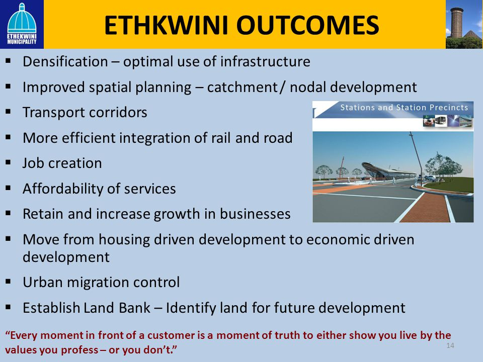 ETHKWINI OUTCOMES Densification – optimal use of infrastructure