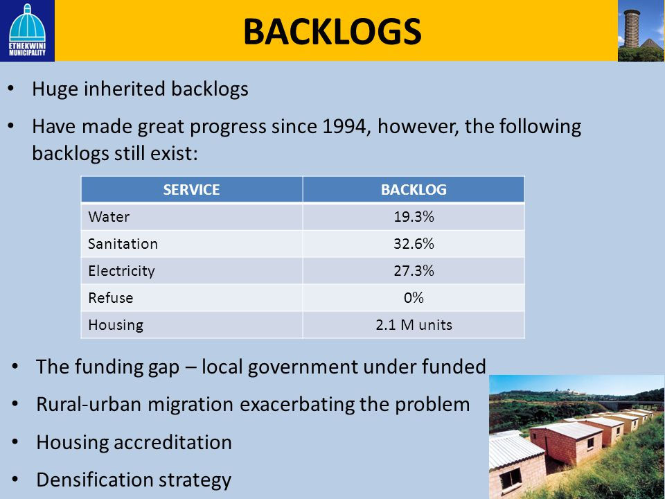 BACKLOGS Huge inherited backlogs