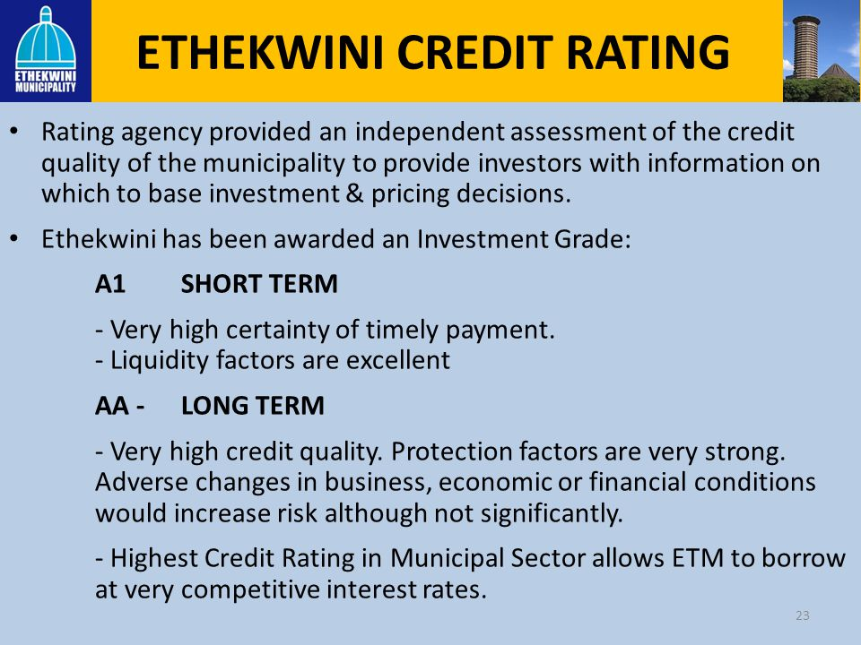 ETHEKWINI CREDIT RATING