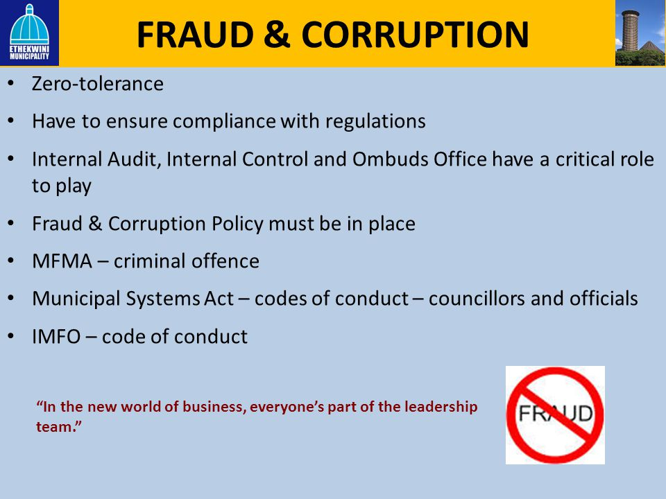 FRAUD & CORRUPTION Zero-tolerance