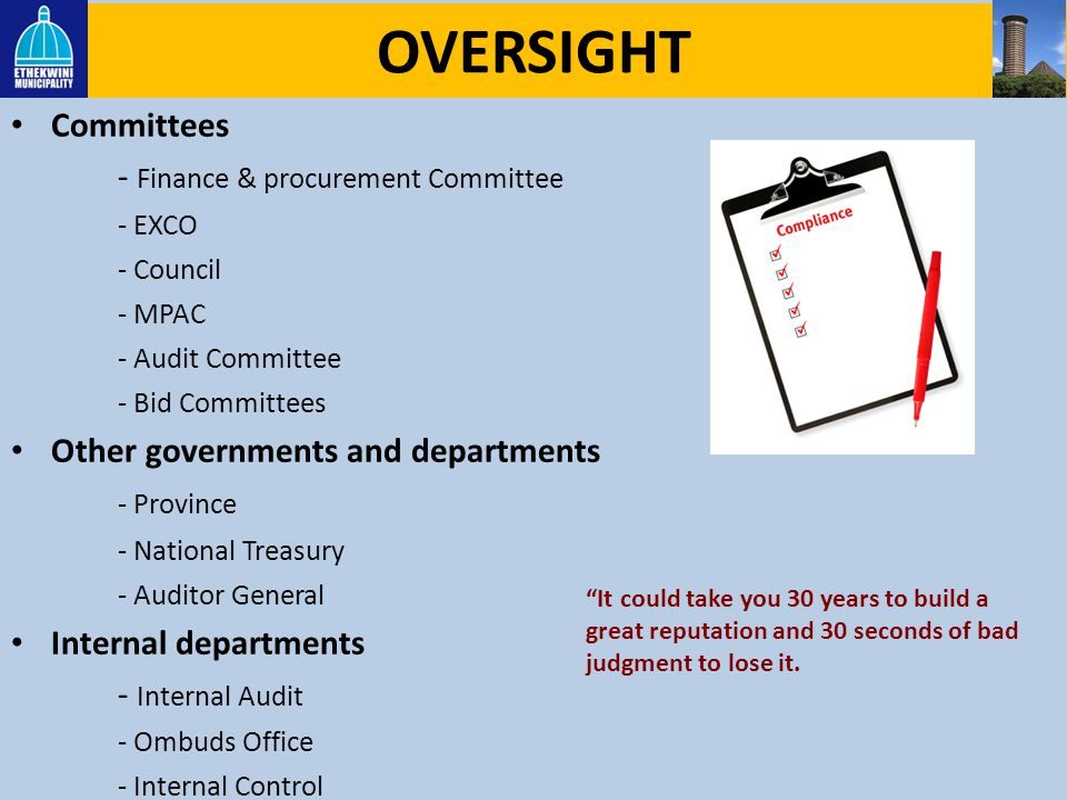 OVERSIGHT Committees - Finance & procurement Committee