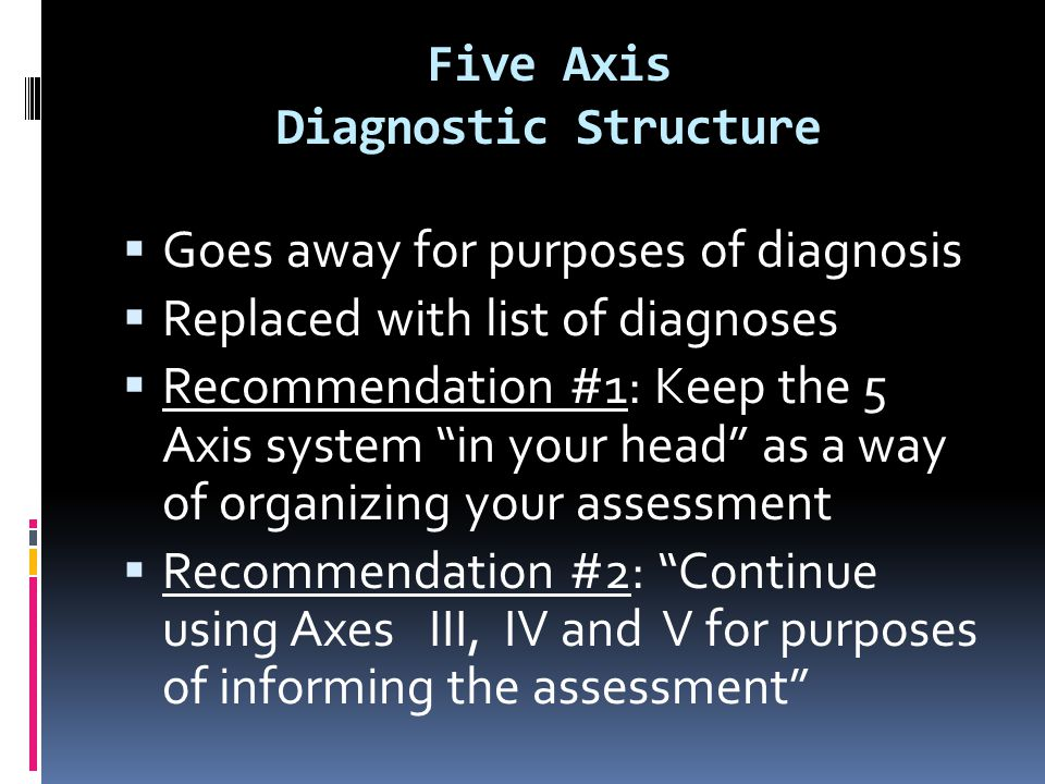 Five Axis Diagnostic Structure