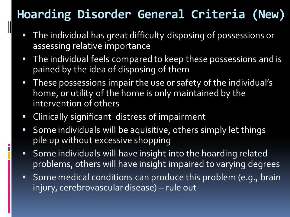 Hoarding Disorder General Criteria (New)