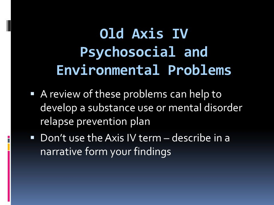 Old Axis IV Psychosocial and Environmental Problems