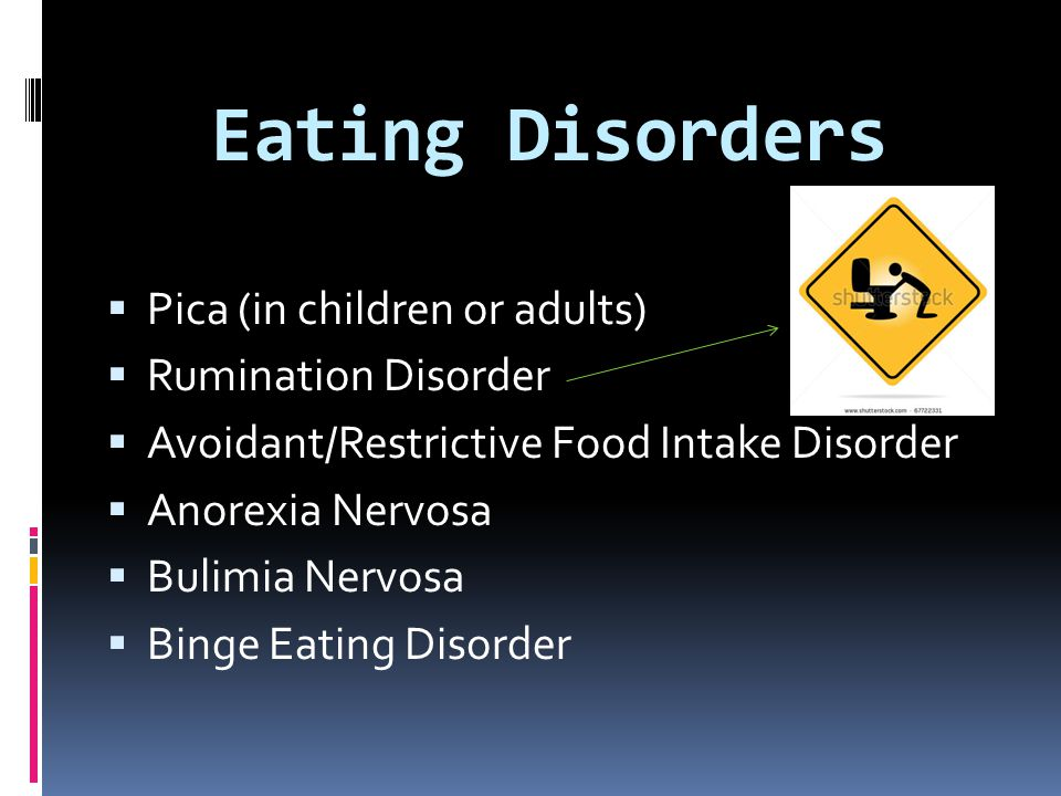 Eating Disorders Pica (in children or adults) Rumination Disorder