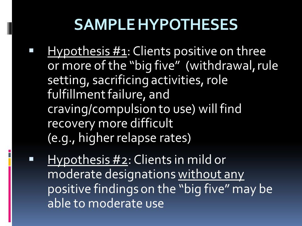 SAMPLE HYPOTHESES