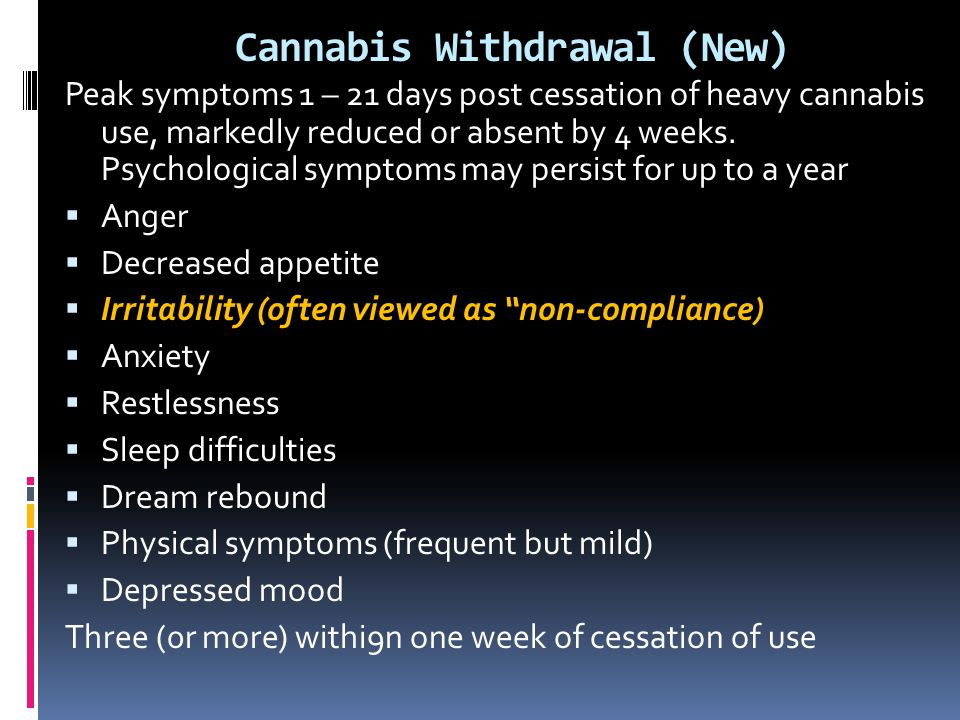 Cannabis Withdrawal (New)