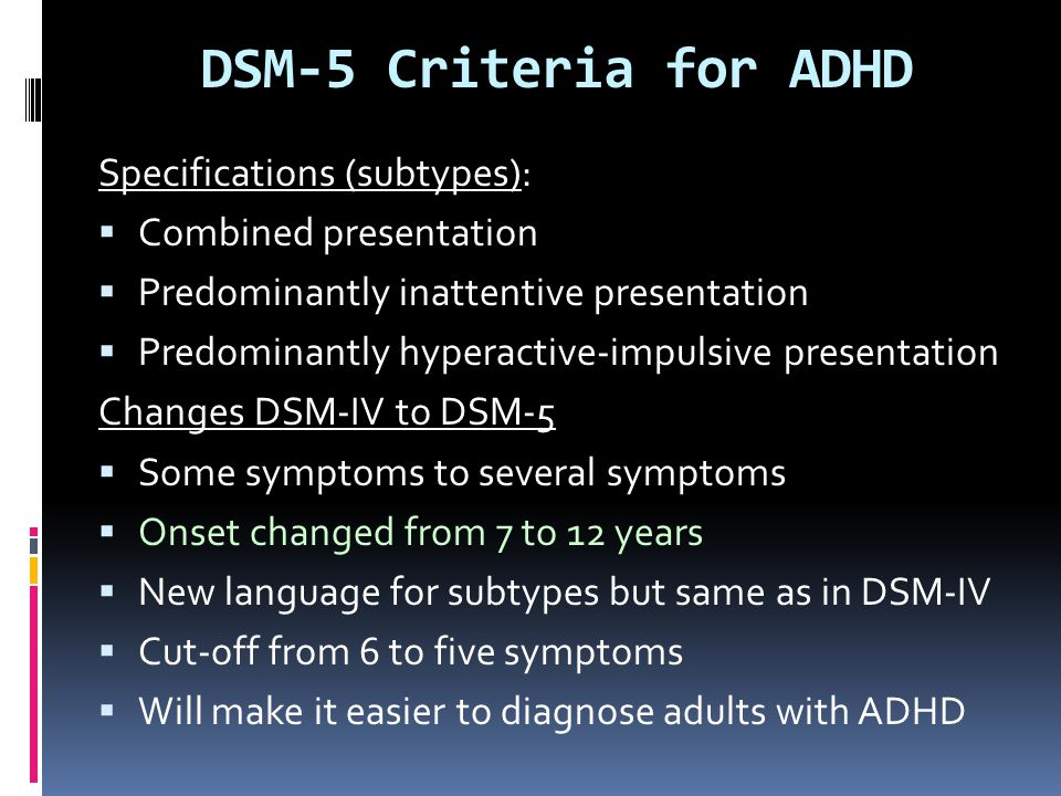 DSM-5 Criteria for ADHD Specifications (subtypes):