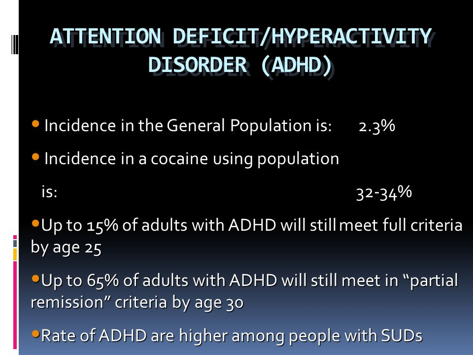 ATTENTION DEFICIT/HYPERACTIVITY DISORDER (ADHD)