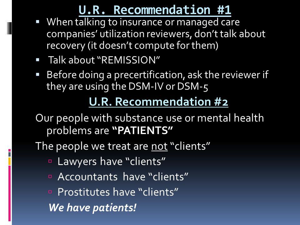 U.R. Recommendation #1 U.R. Recommendation #2