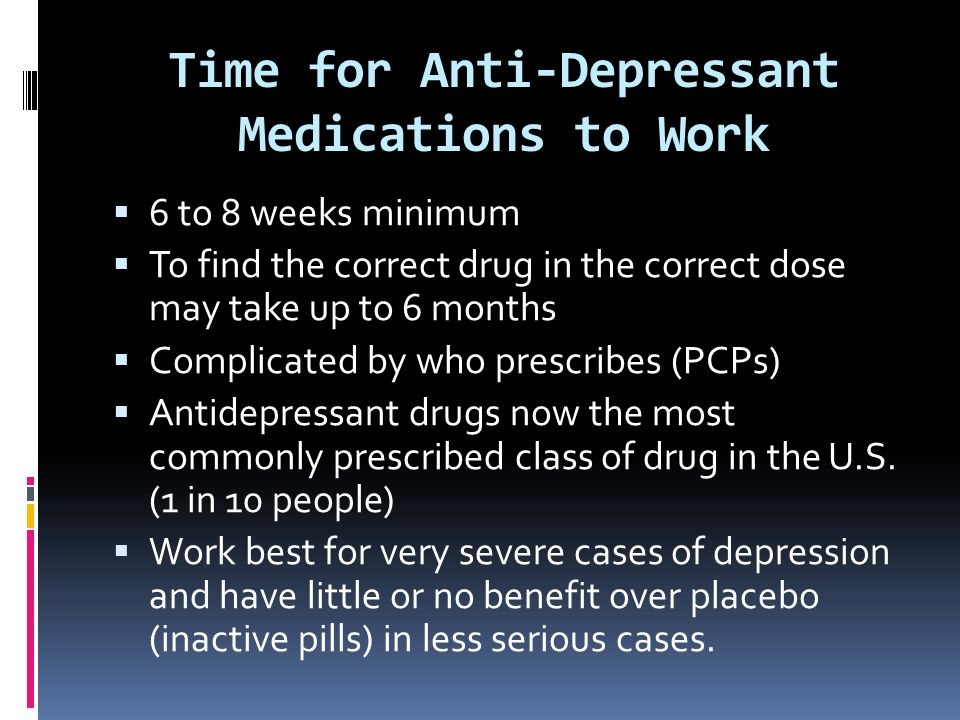 Time for Anti-Depressant Medications to Work