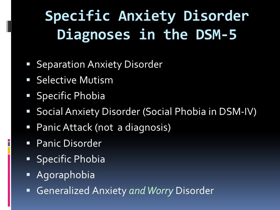 Specific Anxiety Disorder Diagnoses in the DSM-5