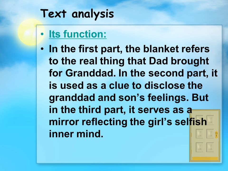 Text analysis Its function: