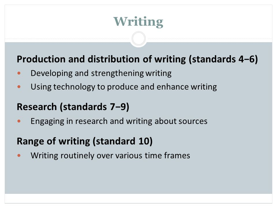 Writing Production and distribution of writing (standards 4−6)