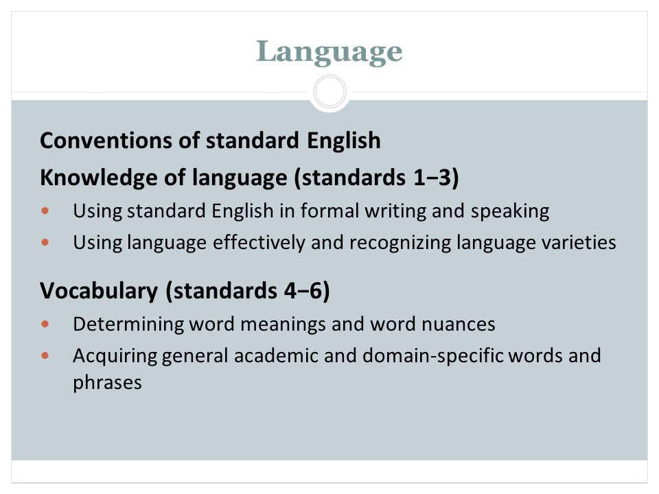 Language Conventions of standard English