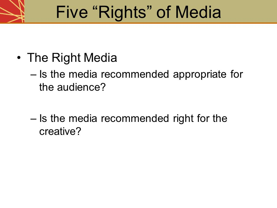 Five Rights of Media The Right Media
