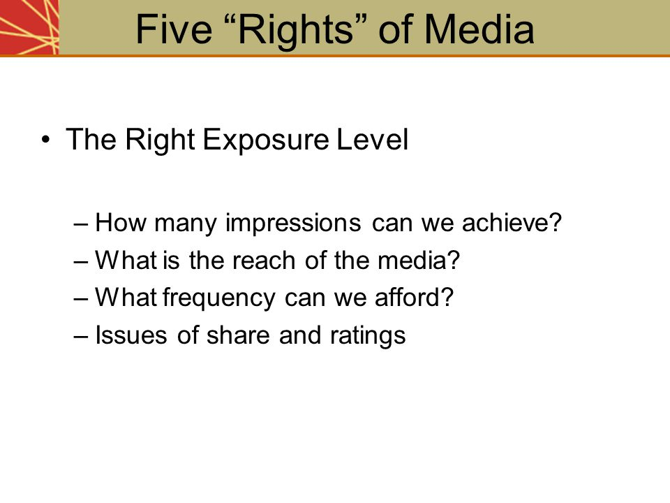 Five Rights of Media The Right Exposure Level