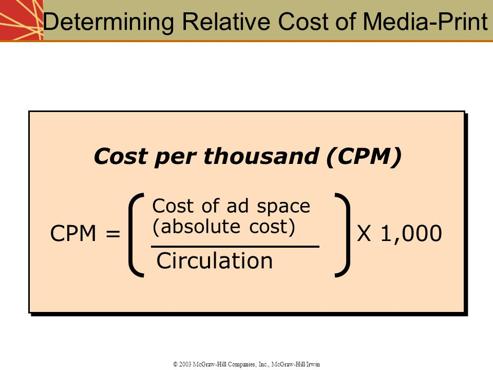 Determining Relative Cost of Media-Print