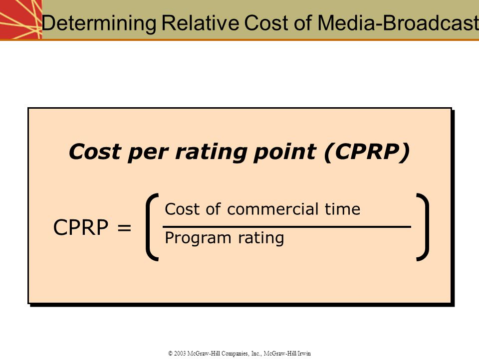 Determining Relative Cost of Media-Broadcast