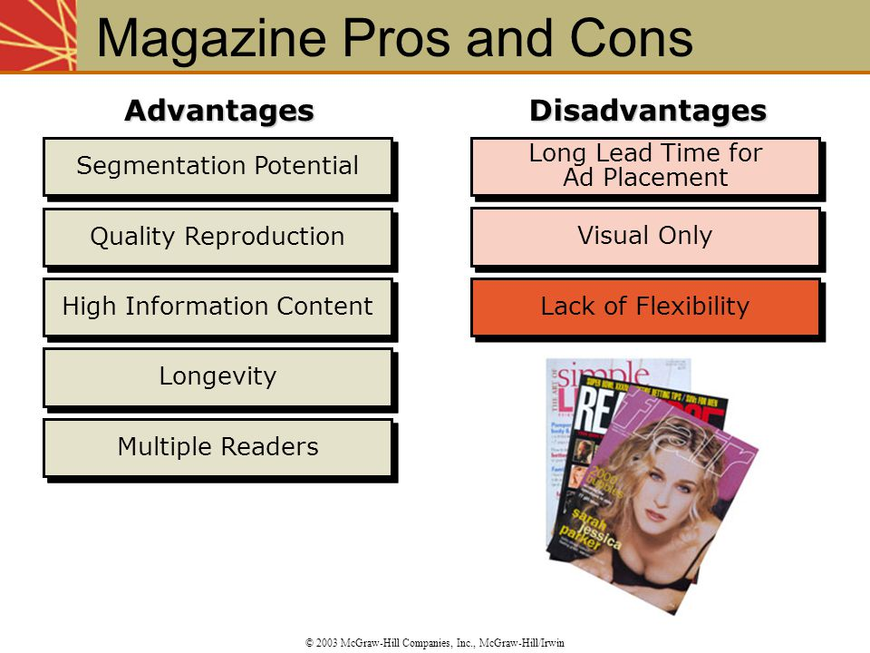 Magazine Pros and Cons Advantages Disadvantages Segmentation Potential