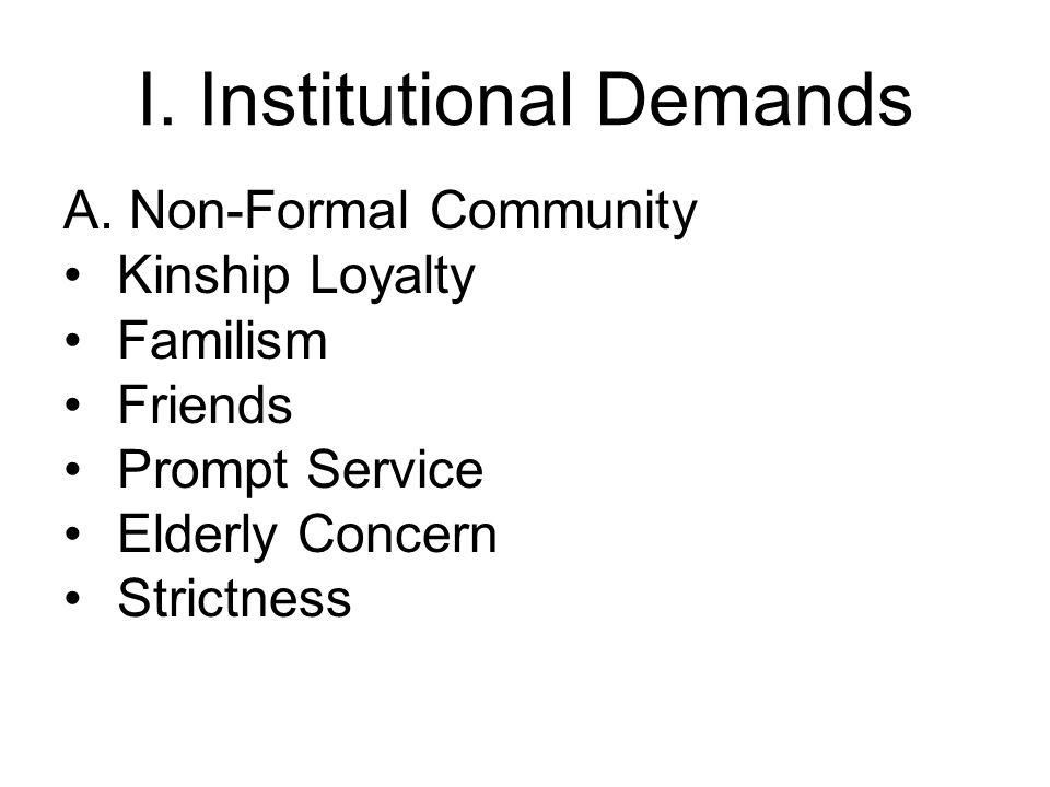 I. Institutional Demands