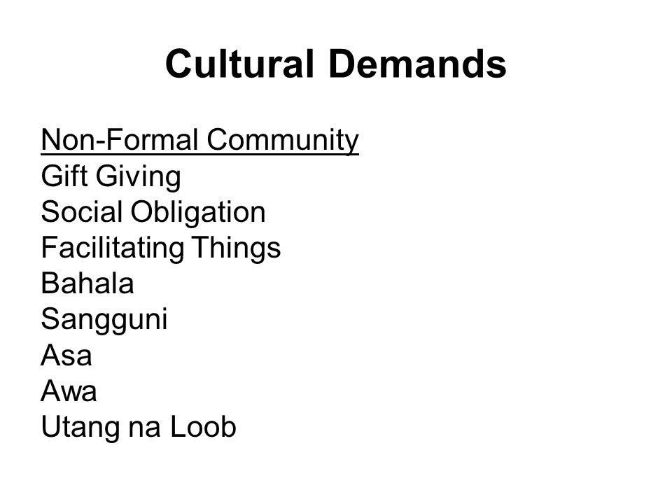 Cultural Demands Non-Formal Community Gift Giving Social Obligation