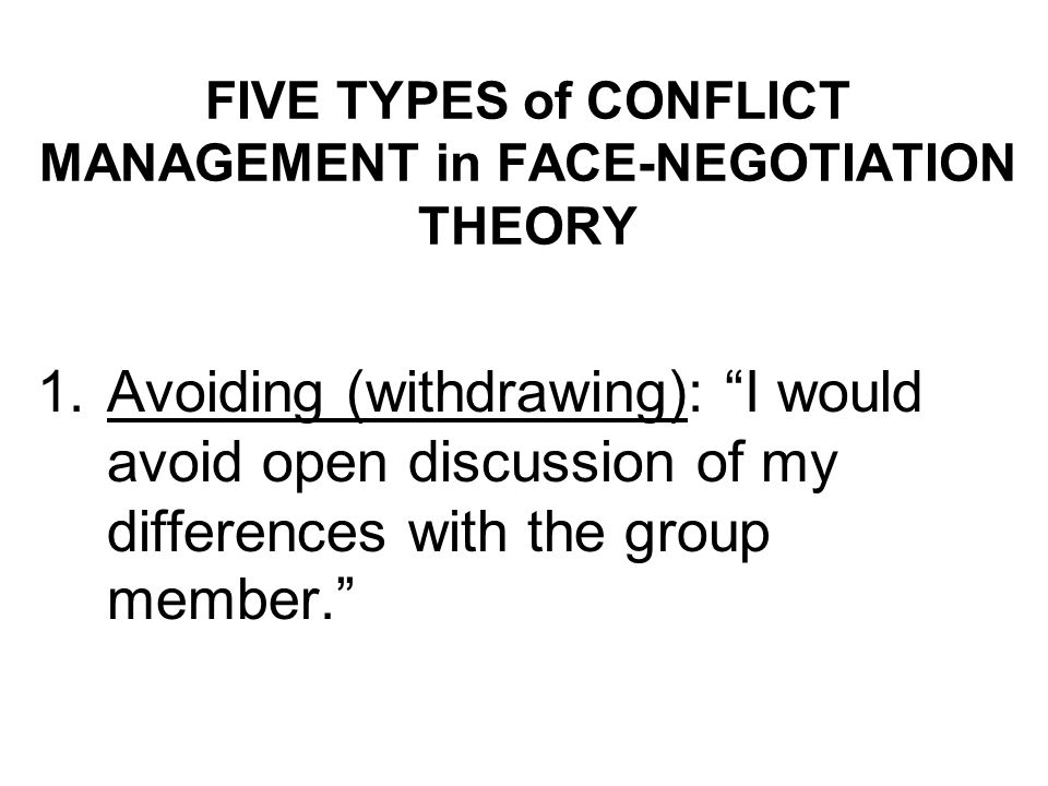 FIVE TYPES of CONFLICT MANAGEMENT in FACE-NEGOTIATION THEORY