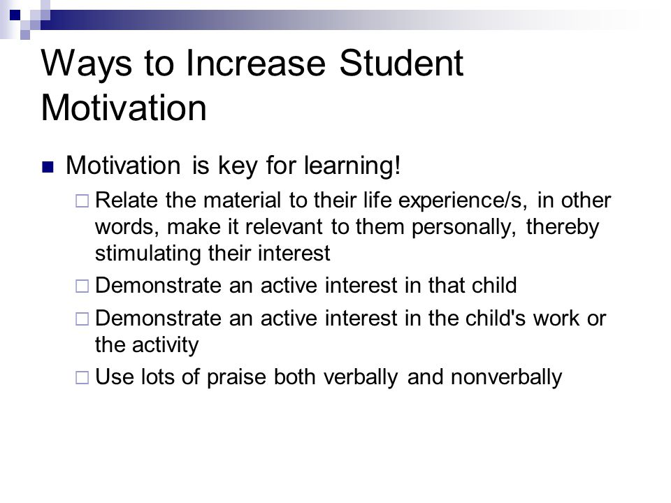 Ways to Increase Student Motivation