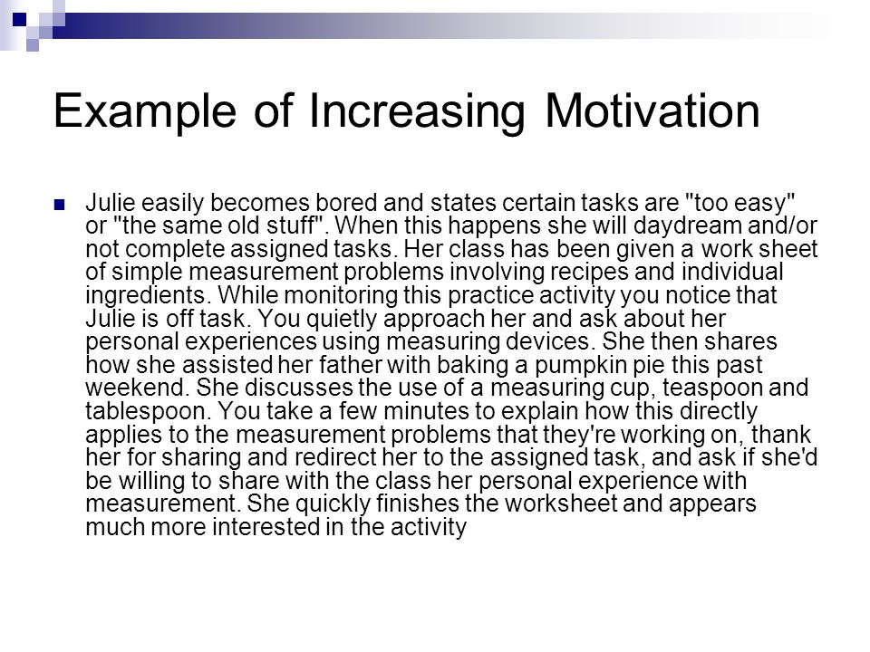 Example of Increasing Motivation