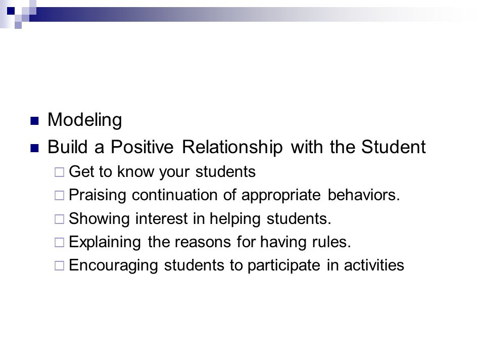 Build a Positive Relationship with the Student