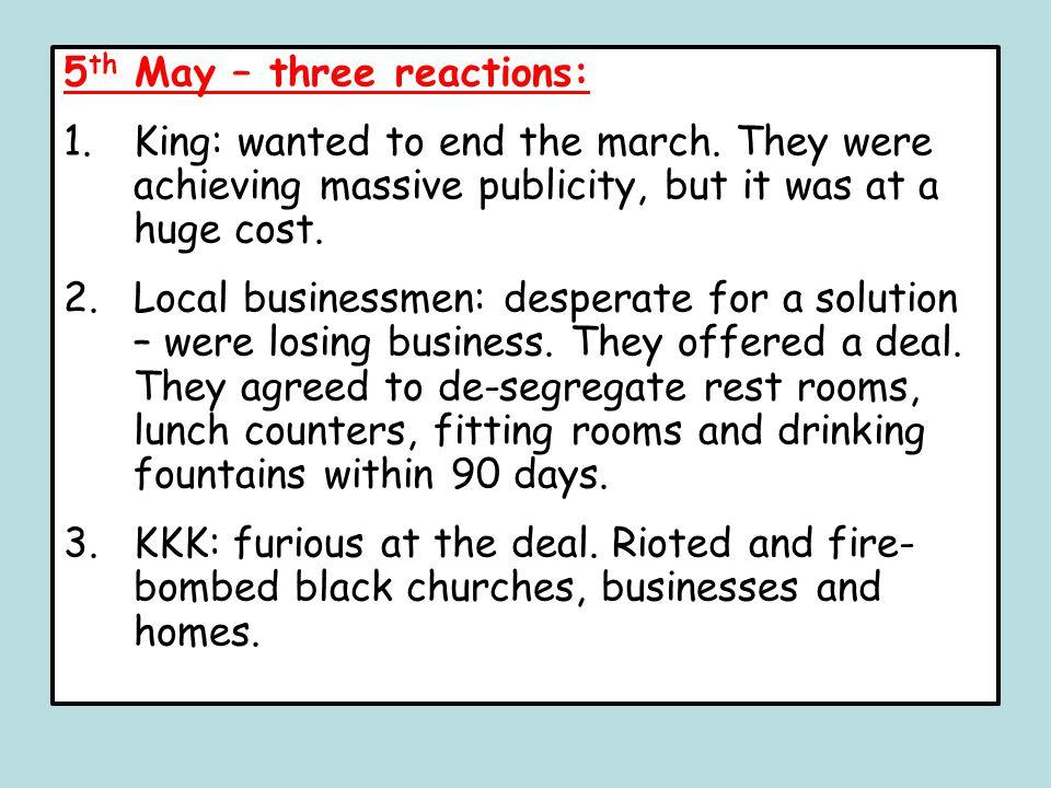 5th May – three reactions: